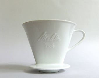 vintage melitta pour over cone 1 x 4 heavy porcelain glazed white