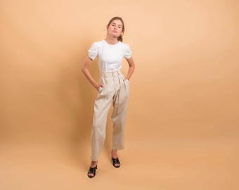 80s High-Waist Pleated Pants / Khaki Pleated Pants / Baggy Cotton Pants /  Chino Trousers Δ size: M