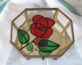 Pretty Glass & Brass Octagonal Jewel Box -  Mirrored Bottom - Rose Appliqué  on Top Vintage Powell