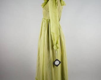 CLEARANCE SALE green peace | vintage 70s chiffon maxi dress | vtg 1970s ruffled party dress | xs/extra small