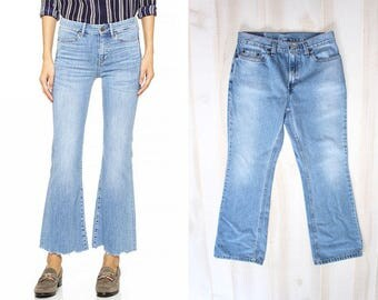 Levis 515 Jeans, Vintage Levis Denim, Boot Cut, Cropped, Flared, Wide Leg, Light Wash, High Waisted