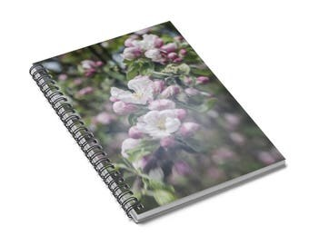 Pink Floral Notebook, Apple Blossom, Flower Journal, Dreamy Floral Spiral Notebook, Memory Journal, Spiral Notepad, Writing Lined Journal