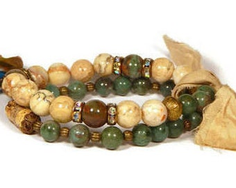 Bracelet Set Shabby Boho Stretchy Neutral Green African Jade Opal Tassel Bracelet Set Boho Bracelets Bohemian Jewelry