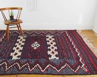 wool kilim rug,antique rug,vintage rug,tribal rug,geometric rug,cross,area rug,wool rug,tribal,handwoven,indigo blue rug,shibori motif