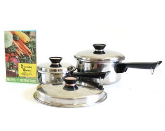 Duncan Hines Pots Pans, Skillet Lid, Cookware 3 ply Stainless Steel Regal Ware