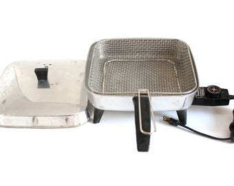 Dominion Electric Skillet 2251 with Deep Fryer Basket, Vintage Aluminum Frying Pan