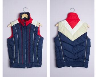 Vintage 1980's Navy Blue + Red Down Filled Ski Vest S/M