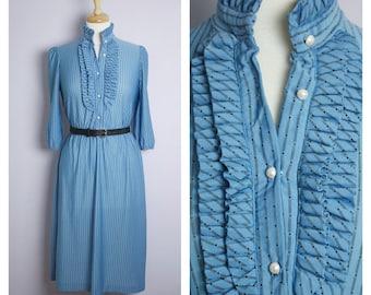 Vintage 1970's/80's Blue Pin Stripe Ruffle High Neck Midi Secretary Dress S/M