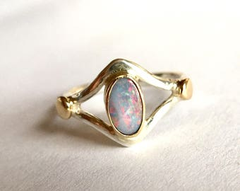 Australian boulder opal ring in sterling silver and solid 14k gold, alternative engagement, southwestern statement, size 7, one of a kind
