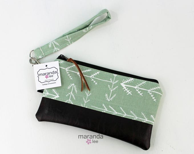 Flat Clutch - Native Sage with Chocolate Brown PU Leather READY to SHIp