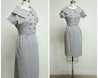 Vintage 1950s Dress • Waters Edge • Striped Cotton Weave 50s Shirtwaist Day Dress Size Small