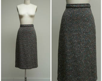 Vintage 50s Skirt • Serious Business • Flecked Wool 1950s Pencil Skirt Size Small