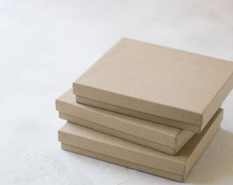"Kraft Boxes w/ Cotton - 10 pc - 6"" x 5"" x 1"""