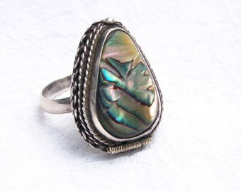 Mexican Poison Ring Vintage Abalone and Sterling Silver Vintage Adjustable Ring Secret Compartment Size 7 .75