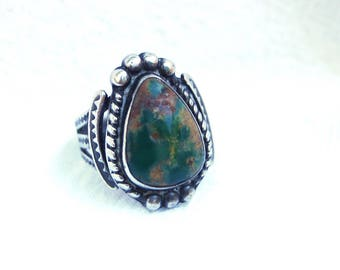 Green Turquoise Ring Pear Shape Size 5 Sterling Silver Vintage Southwest Jewelry Boho Pinky Ring