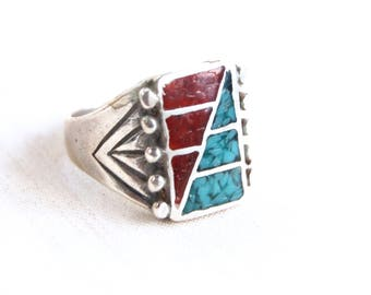 Southwestern Biker Ring Size 9 .75 Vintage Rectangle Chip Turquoise and Red Resin Statement Ring Mens Jewelry