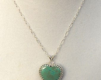Turquoise Heart Necklace set in Sterling Silver