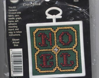 Noel Christmas Square Ornament Counted Cross-Stitch Kit with Frame