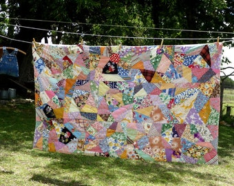 Vintage 60's Crazy Quilt Comforter Hand Pieced and Tied,Hand Made Bold Early 1960s Home Made Lap Quilt Comforter
