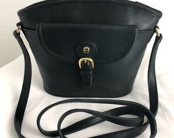 Vintage Etienne Aigner Mini Black Leather Bucket Bag