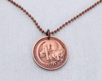 Coin Jewelry. Vintage AUSTRALIA coin necklace. Mouse necklace. possum. mouse jewelry. Copper coin. Marsupial necklace. Tween jewelry