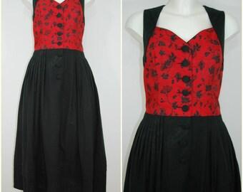 Bohemian VINTAGE Bavarian DIRNDL Red Silk Black Cotton Folk Dress UK 12-14 FR40 Oktoberfest / Tyrol / Austrian / German/ Christmas/ Trachten