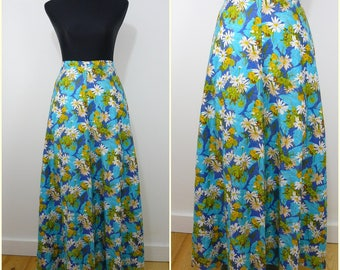 VINTAGE 1970s Retro Bright Turquoise Blue White Daisy Flowers Bohemian Maxi Skirt UK 10 FR 38/ Country Folk / Hippy / Floral