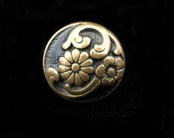 Antique Button Ring- Vintage Button Ring- Flower Ring- Statement Ring- Cocktail Ring- Button Jewelry- Flower Jewelry- Adjustable Rings