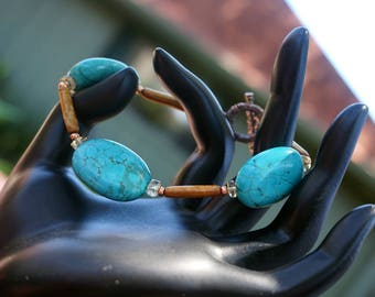 Turquoise with Gold Coral and Citrine Bracelet