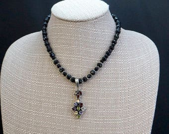 Multi-stone Pendant with Onyx Beads