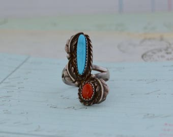 Vintage Navajo Ring - Size 8 - Turquoise and Coral in Sterling