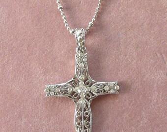Rhinestone Cross Necklace by Cookie Lee Vintage Gorgeous