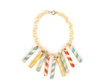 Vintage 1930's  Art Deco Cream + Rainbow Candy Stripe Plastic Celluloid Chain Wooden Necklace