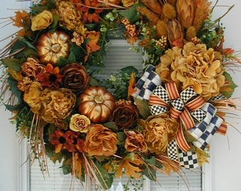 Large Front Door Wreath Fall Elegant Silk Floral Decoration Luxe Thanksgiving Fireplace Decor Copper Pumpkins Burnt Yellow Orange Red