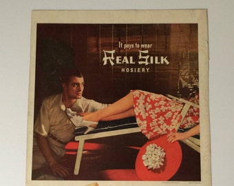 1940s Real Silk Hosiery Ad Vintage Wall Art on Reverse Side is Hiram Walker Signet Whiskey Ad  Fashion Advertising Whiskey Advertising