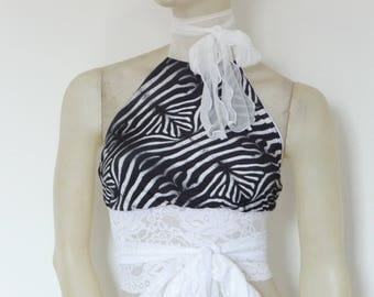 black and white Zebra Print Wrap Top open Back Halter Top Size US 4 and 6 Dancewear Evening Top stunning Designer  Tango Chamise