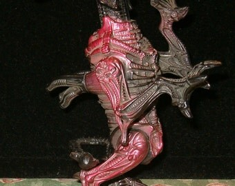 """Alien Creature, Scary, TMandC, 1990's Fox, Kenner Toy, Moveable Arms, Legs and Head, 6""""H"""