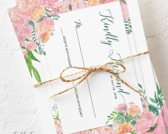 Wedding Invitation Suite, Semi Custom - Peony Pink (Style 13779)
