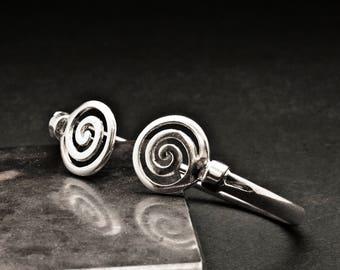 Unisex Spiral Cuff Bracelet, Men/Women Sterling Silver Greek Bangle, Silver Swirl, Men's Jewelry, Mens Gift Bracelet, Unisex Greek Jewelry