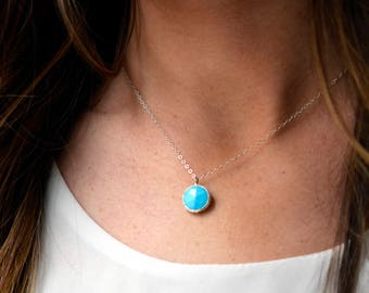 Turquoise Necklace, Sterling Silver or 14kt Gold Filled Turquoise Necklace, Turquoise Pendant, Simple Necklace
