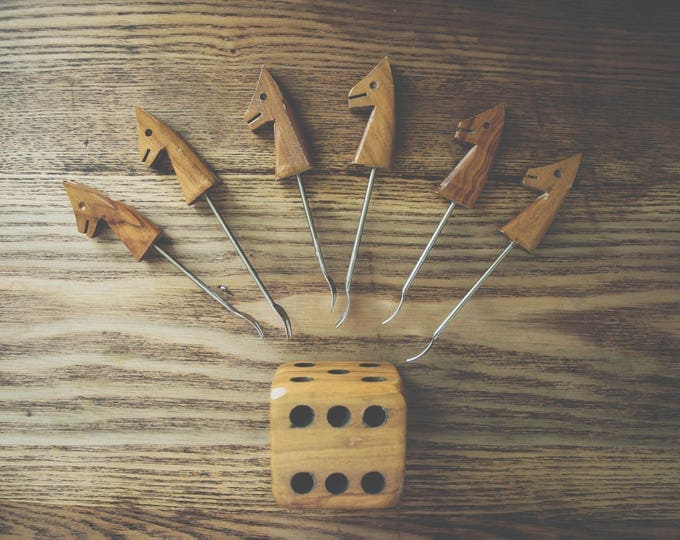 Vintage Wood Dice and Horse Cocktail Pick Set // 1970s Fondue // Mid Century Party // Olive Picks // Cheese Tray // Bar Carts