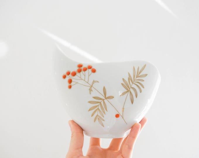 Mid Century Orand and Gold Glazed White Porcelain Vase //  Schumann Arzberg Bavaria //  Bohemian Botanical Home Decor