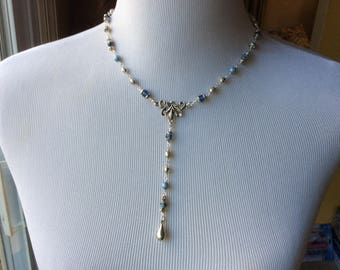 CLEARANCE Blue Rosary style Y necklace and earrings set with Czech glass beads and freshwater pearls Great Gift