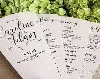 Wedding Program Fans 4 Blade Petal Programs Satin Ribbon Customizable Elegant Programs FAST Spring Summer Wedding Custom Colors SS14 150ct+