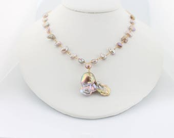 Flameball pearl necklace, keshi freshwater pearl necklace, large fireball pearl pendant, pondslime, mauve, gold: Simply Adorned