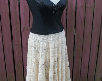 Leather & Lace Dress-Upcycled Tunic-Harley Davidson-Vintage Crochet-Black and Cream-Junk Gypsy-Cowgirl Chic-Size Small-Medium
