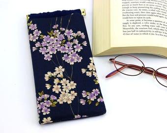 Fabric Glasses Case, Glasses Sleeve, Padded Glasses Case, Cherry Blossoms Navy