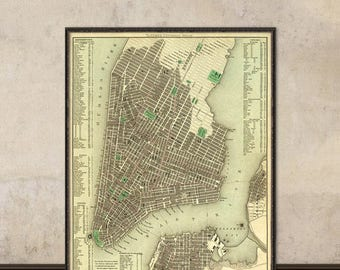 New York City map  -  Old map of New York City print - NYC old map