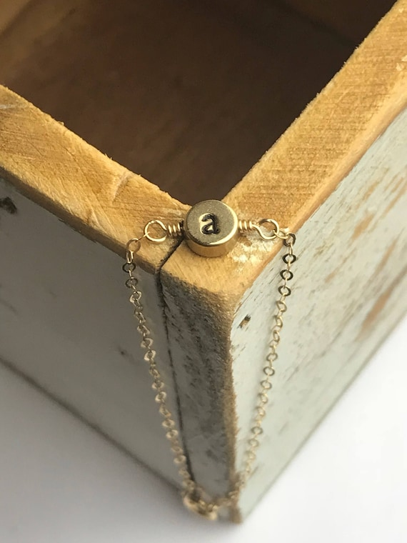 Tiny Stamped Initial Bracelet - Brass Coins