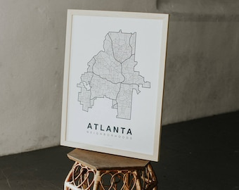 ATLANTA Map. Screen Print Poster. Neighborhood Map. Modern Home Decor Print. Chicago Illinois Art Poster. Multiple Colors.